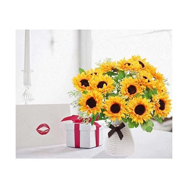 Zeagro – Girasoles artificiales, 1 paquete de 7 flores artificiales, de plástico y seda