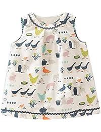 Kaily Mädchen Sommer Baumwolle Ärmellos Süß Dress T-Shirt Kleid