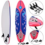 Costway 6FT/182CM SUP Stand Up Surfboard Surfing Board Long Top Surf Kids/Adults Soft
