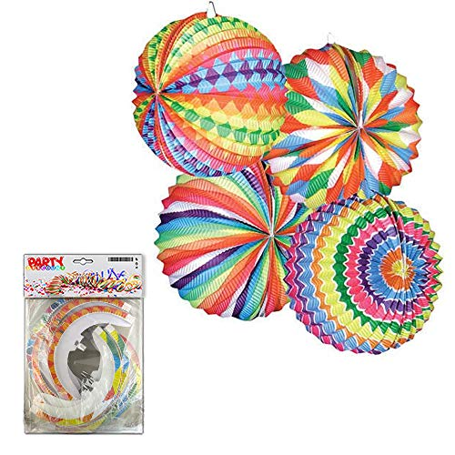 Runde Lampions 12 Stück - PARTY DISCOUNT ® Lampion Bunter Ballon,