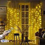 Cortina de Luces USB 3 * 3 m 300 LED Resistente al Agua con 8 Modos de Luz, EVILTO Cortina Luminosa de Lamparitas LED para Navidad, Fiesta, Cumpleaños, Día de San Valentín, Boda, Jardín, Blanco Cálido