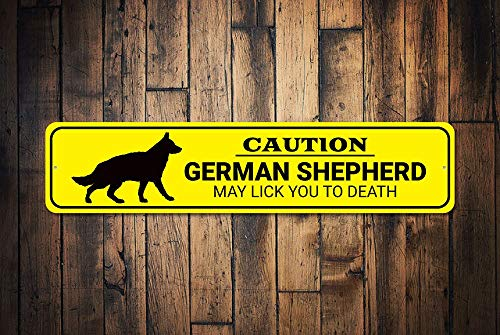 C-US-lmf379581 Caution Dog Sign German Shepherd Gift Dog Lick to Death Sign Funny Dog Gift Dog Caution Sign Dog Gift Quality Aluminum