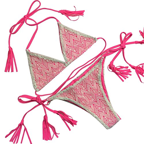 Gladiolus Damen Push-Up Schnüren Design Triangel Bikini Bademode Beachwear Badeanzug Bikini-Sets Bikinihosen Und Bikinioberteile Rose