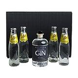 GJITO Niederrhein Dry Gin + 4x Schweppes Indian Tonic Water 200ml -GESCHENK SET - Handgemacht und abgefüllt am Niederrhein 44% VOL - Schwarze GESCHENKBOX