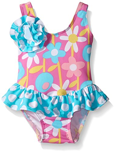 Flap Happy Baby UPF 50+ Rio Infant Swimsuit with Snap-Crotch, Petal Pops, 6 Months