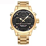 GOHUOS GOHUOS Herren Digital Analog Quarz Uhr Dual Time Display Gold Edelstahl Auto Date Chronograph Armbanduhr, Wasserdicht Sports Bussiness LED Backlight Black Dial Stoppuhr mit Alarm