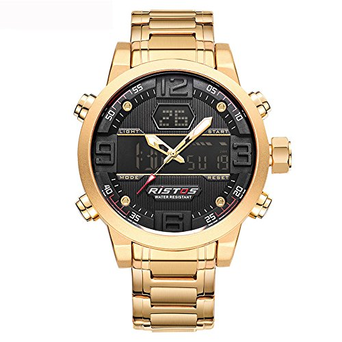 GOHUOS Herren-Chronograph digital-analog Quarz Dual Time Display Gold Edelstahl Auto Datum Armbanduhr, 3 ATM wasserdicht Sport LED Hintergrundbeleuchtung Schwarz Zifferblatt Stoppuhr mit Wecker