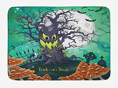 h Mat, Trick or Treat Dead Forest with Spooky Tree Graves Big Kids Cartoon Art Print, Plush Bathroom Decor Mat with Non Slip Backing, 23.6 W X 15.7 W Inches, Multicolor ()