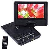 """DBPOWER 7.5"""" Lecteur DVD Portable avec écran orientable, compatibilité carte SD et interface USB, lit directement les formats MP4, AVI, RMVB, MP3 et JPEG (Black, 7.5)"""