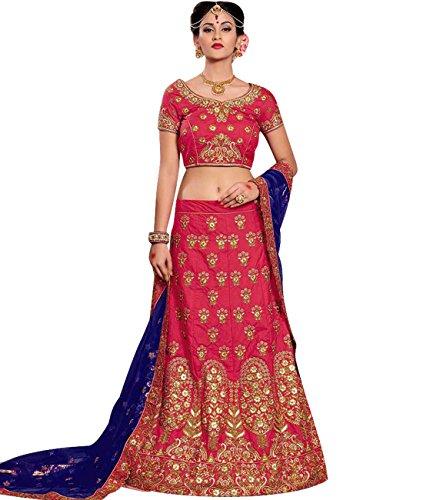 Indian Ethnicwear Bollywood Pakistani Wedding Dark Pink Coloured Lehenga Un-stitched