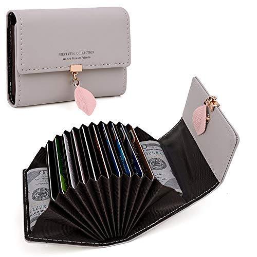Akkordeon-mädchen (Geldbörse Damen UTO Kleine Akkordeon Brieftasche Pu-Leder Blatt Anhänger Dünne Kompakte Kartenhalter Organizer Mädchen Grau)