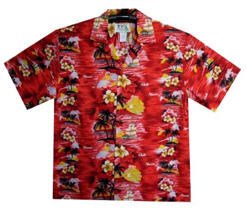 KY`s Original Camicia Hawaiana, Aloha, rosso 3XL