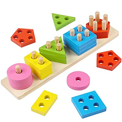 Lewo Wooden Shape Puzzle Stacker Sorter Early Educational Toys Shape Geometric Sorting Board Stacking Blocks Shapes Toy Puzzle for Toddlers 1 2 3 Year Old Boys Girls
