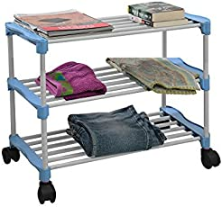 PARASNATH Steel Smart Shoe Rack with 3 Shelves (58x30x58cm, White and Blue)