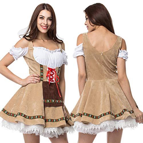 ToDIDAF Oktoberfest Dirndl Damen Vintage Dress Festival Kleidung Bayerische Kurzarm Cosplay Kostüm Kleid for Oktoberfest Karneval Halloween Party Gelb XL (Bierkrug Damen Kleid Kostüm)