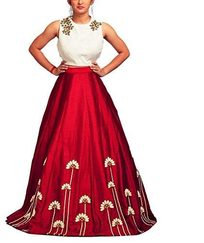 Dhruv Fab Taffeta silk lehenga Royal red Lehenga choli for Women and...