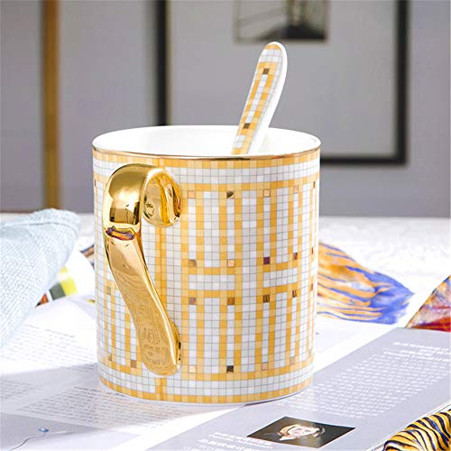 Becher Jingdezhen Keramik Tasse Wasser Tasse Kaffeetasse Porzellan einzelne Tasse Löffel Gold (Candy O Cup Gold)