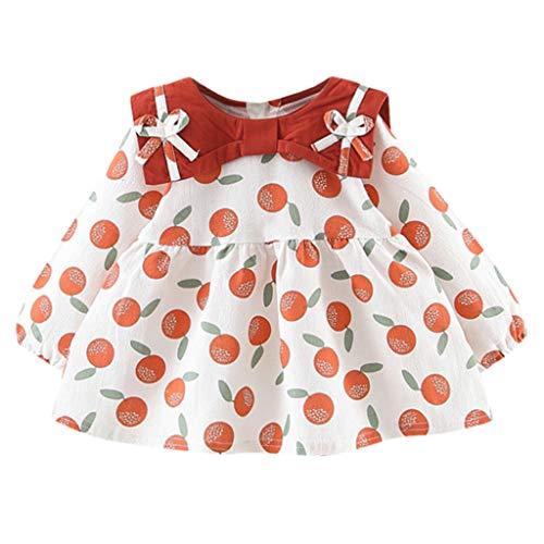Realde Mädchen Baby Rüschen Langarm Kleid Vintage Polka-Punkt Drucken O-Ausschnitt Mini Kleid Sommer Prinzessin Kleid Partykleid Festlich Babybekleidung Abendkleid - Handschuhe Motorrad Indian