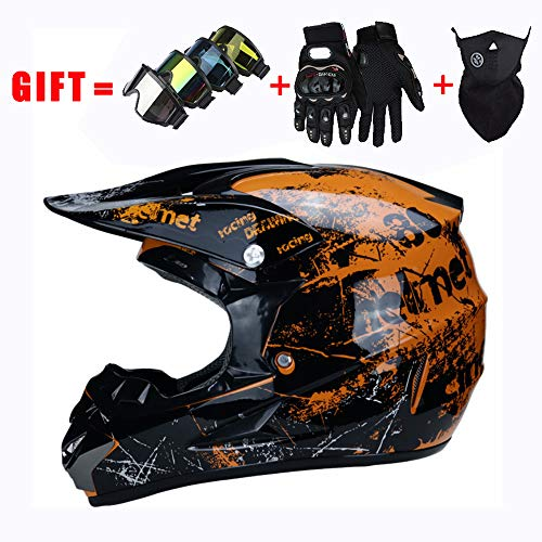 Full Face Fahrradhelm Motorradhelm Cross Country D.O.T Zertifizierung Endurance Race Mountainbike All Terrain Vehicle Helm, Sicherheit Atmungsaktiv ATV Helm Geschenk...