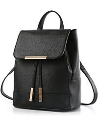 BYD - PU Cuero Mujer Backpack Bolsos mochila con bolsillo multiples Moda Bolsos bandolera