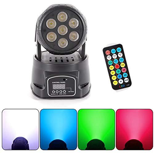 OUKANING Moving Head Bühne Licht 105W DMX512 LED Lichteffekte Discolicht Mini 4 in 1 RGBW Partylicht Stadiums Effekt Bewegliches Hauptlicht, Wash Beleuchtung