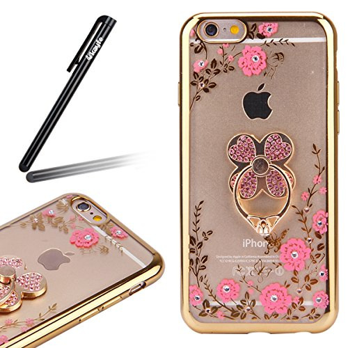 Coque pour iPhone SE/5S/5,iPhone SE Or Coque en Silicone Clair Ultra-Mince Etui Housse avec Bling Diamant,iPhone 5S Placage Coque Bling Bling Glitter Sparkle Diamond Silicone Case Rose Gold Slim Soft  Or trèfle-Fleurs Roses