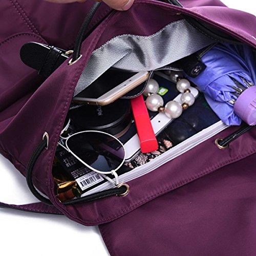 LAIDAYE Nylon Backpackers Casual Borsa A Tracolla Di Tela Di Canapa Grande Sacchetto Di Pacchetto Di Viaggio Sacchetto Di Scuola Del Vento Di Corsa Del College Purple