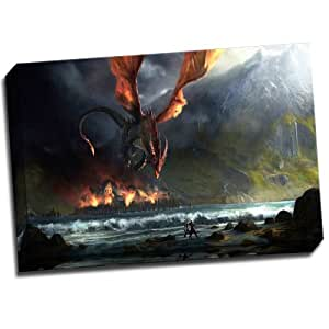 L.O.T.R DRAGON ATTACK Stunning Gallery Framed Giclee Canvas Art Picture Print New Modern War Wall Art Decor NEW Ready To Hang 24x16