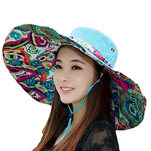 Large Surker femmes Brim Casual Summer Protection UV Sun Beach Traveler Sun Hat Bleu