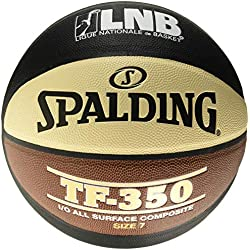 Spalding Lnb TF350 Ballon de Basket-Ball Mixte Adulte, Noir/Orange/Blanc, Taille 7