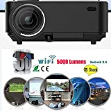 Professional HD WiFi Portable Intelligent Model LED Wireless Video Home Cinema Projector For PC US Plug Type