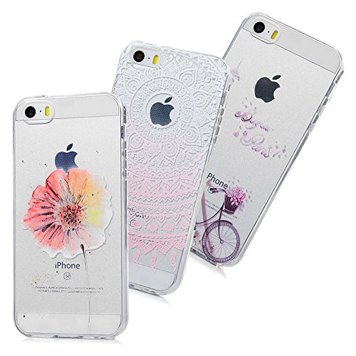 iPhone SE Handyhülle iPhone 5S Hülle Case Malen Tasche Silikon Transparent Schutzhülle Skin Soft Schale Kratzfest Stoßdämpfend Bumper Durchsichtige TPU Backcover Handycover*3-Set2