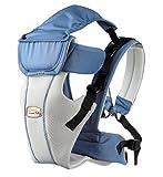 Happy Cherry Mehrfunktionale Atmungsaktive Babytrage als Bauchtrage Rückentrage Tragetuch mit Kapuze für Baby 0-24 Monate - Blau Beige