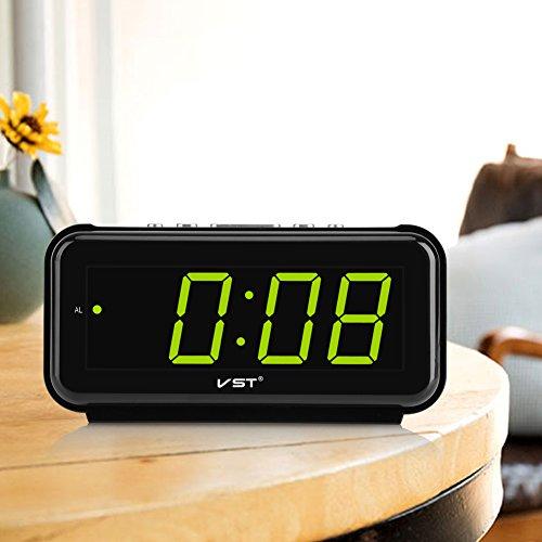 Haofy 220V LED Digital Alarma Despertadores electrónicos Radio Reloj Repeticion con Pantalla Grante(Verde)