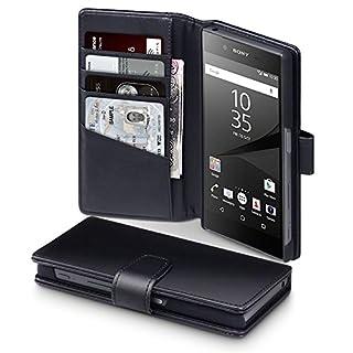 Terrapin, Kompatibel mit Sony Xperia Z5 Hülle, [ECHT LEDER] Brieftasche Case Tasche mit Kartenfächer und Bargeld - Schwarz