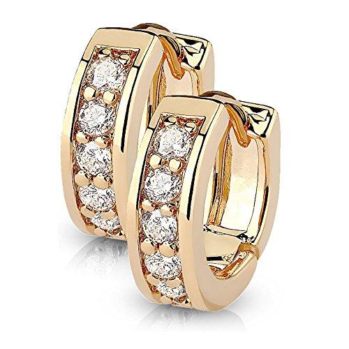 bungsa® Orecchini da donna cristalli I Argento, Oro rosa, oro i Orecchini a cerchio con cristalli di alta qualità per donne in acciaio inox e acciaio inossidabile, colore: Oro rosa, cod. 7104