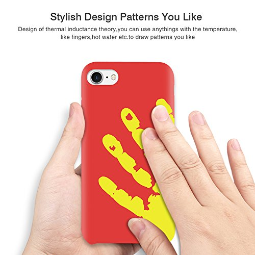 """Soundmae Case For iPhone 6/6s Plus 5.5"""" Cover Physical Color Changing Thermal Case Magical DIY Pattern Epoptic Heat-Sensitive Matte Surface TPU Back Cover for iPhone 6/6s plus - Black turn to Red Red turn to Yellow"""