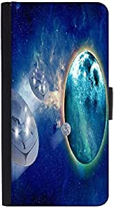Snoogg Aliens Spacecrafts Graphic Snap On Hard Back Leather + Pc Flip Cover H...