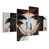 Bilderdepot24 Wandbild - Afrika M18 - handgemaltes Leinwandbild 120x80cm 4 teilig 461
