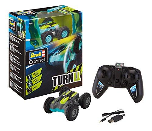 Revell Control 24637 RC Stunt Car TurnIt, 2.4GHz, 4WD Allrad, beidseitig fahrbar, mit drehbarer und arretierbarer Achse, mit Akku, ferngesteuertes Auto, grün-schwarz, 9 cm