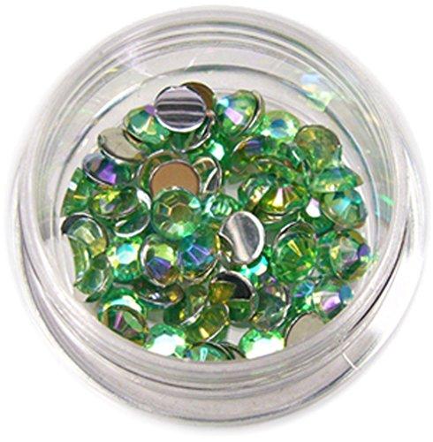 RM Beautynails avec 4 mm vert clair ronde strass paillettes strass env. 50 pièces pour Nail Art et Manucure Design