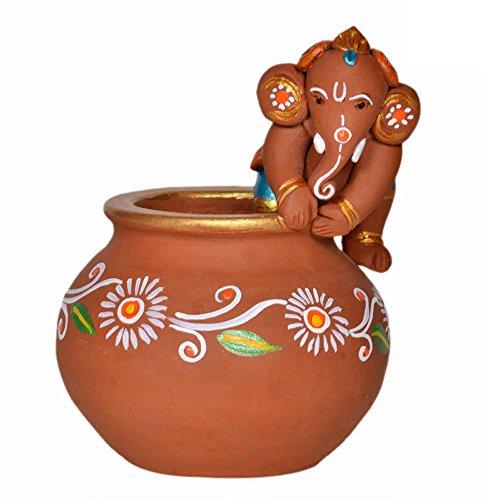 ExclusiveLane Terracotta Handpainted Baby Ganesha Crawling On The Matki / Ganesha Idol Show Piece  available at amazon for Rs.574