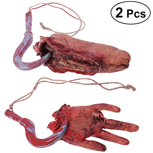 Amosfun 2 STÜCKE Halloween Scare Requisiten Gehackte Menschlichen Teile Set Terror Requisiten Gebrochenen Hand Gebrochenen Fuß (Hautfarbe)