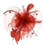 JIAHG Damen Fascinator Hanf Hut atmungsaktiv Braut Feder Blumen Kopfschmücke Brautschmuck Haar Clip Hut für Party Kirche Hochzeit Festival