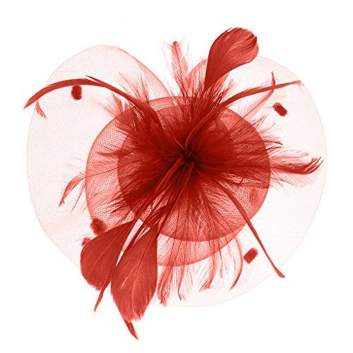 Hüte mit Feder Blumen Haar Clip Haarreif Haar Accessoire Netz-Mütze Schleier Tea Party Hochzeit Kirche Haarschmuck Kopfschmuck Kopfbedeckung für Frauen,rot (Blume Und Feder-haar-clips)