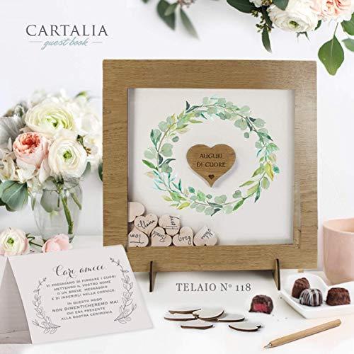 Guest book matrimonio cornice rovere rustico con cuori di legno con decori floreali libro degli ospiti personalizzato con nomi e data delle Nozze Regalo Vintage
