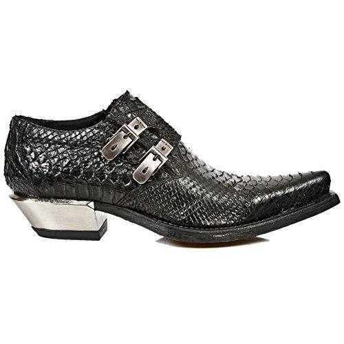 Smart Range New Rock M.7934-S2 Métallisé Noir Boucle en Cuir West Chaussures à Talons en Acier