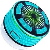 Expower IPX7 Ducha Altavoz Bluetooth impermeable altavoz portátil inalámbrico Bluetooth con reproductor de MP3, radio FM, a prueba de agua, a prueba de golpes, manos libres, funciones múltiples de luz LED de color Manos libres Talk, batería recargable, fuerte ventosa