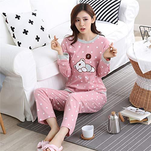 HAOLIEQUAN Spring and Autumn Ladies Pajamas Set Women Long Sleeved Pants Can Wear Loose Knit Cotton Home Furnishing Clothing Suit,Shui Jiao Xiong,M - Knit Womens Pyjamas