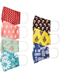 Ayukta Women's Cotton Reusable Face Mask (Pack of 7) (AYUMSK02_Multicolor_Free Size)